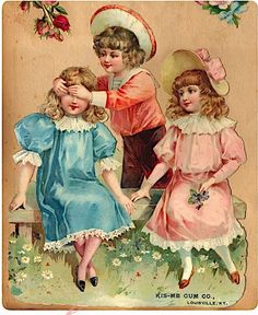 Vintage spring postcard by the Kiss-Me Gum Co. of Louisville, Ky.