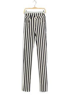 Black white #stripes pants