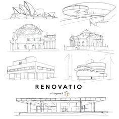 Renovatio - Archisquare.it  Architectural Sketch: Jørn Utzon - Mies van de Rohe - Palladio - Le Corbusier - Oscar Niemeyer - Frank Lloyd Wright