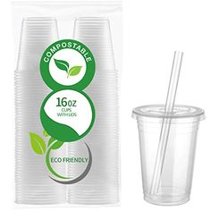 50 Count Eco Friendly Clear PLA Cups with Lids - Plasticless 16 Ounce Biodegradable Plastic Cups Made of Compostable Plant-Based PLA for to Go Cold Beverage Improvement Fans Lighting Strip Lights Supplies Towels Supplies Plastic Cup With Straw, Plastic Cups, Biodegradable Cups, Biodegradable Products, Eco Store, Can Storage, Frozen Cocktails, Disposable Cups, Body Hacks