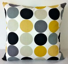 Cushion cover - retro dots in yellow mustard, greys, black and white, contemporary designer fabric slip cover, throw pillow