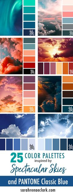 25 Color Palettes Inspired by Spectacular Skies & PANTONE Classic Blue Explore the beautiful colors of the sky with these 25 color palettes inspired by spectacular skies and PANTONE's 2020 Color of the Year, Classic Blue. Color Schemes Colour Palettes, Blue Colour Palette, Color Palate, Color Trends, Hue Color, Sky Colour, Colour Match, Color Palette Challenge, Pantone 2020