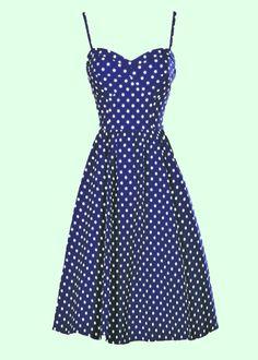 Stop Staring: 50'er Mørkeblå Swing kjole med prikker (1.699 kr)