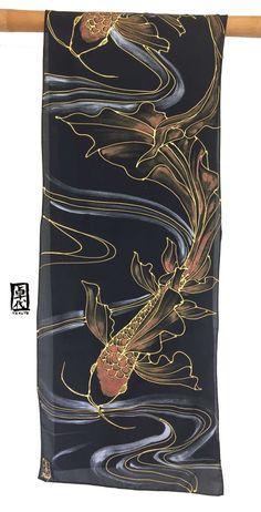 Koi Scarf Koi Fish Art Black Silk Scarf Red and Gold Scarf image 5 Koi Dragon, Gold Scarf, Golden Red, Japanese Koi, Fish Art, Metallic Paint, Black Silk, Hand Painted, Painted Silk