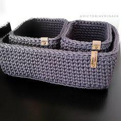 Crochet Storage Basket, Crochet boxes, Bedroom Storage, Eco friendly Grey Storage Baskets, Set of 3 Baskets - Crochet Storage, Crochet Box, Crochet Basket Pattern, Knit Basket, Crochet Amigurumi, Easy Crochet Patterns, Crochet Stitches, Crochet Baskets, Basket Organization