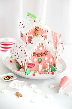 Pretty Pink Gingerbread Shop with Wilton's Ready-Made Gingerbread House Kits