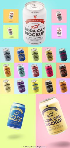 Tin soda can mockup branding designs by It's me simon.My soda can mockups for photoshop comes with five awesome views. All the mockups are real photographs but the big difference with this mockup is that it also combines Photoshop for the label texture. Can Mockup, Mockup Templates, Design Templates, Packaging Design, Branding Design, Stickers Design, Light Highlights, Bettering Myself, Color Effect