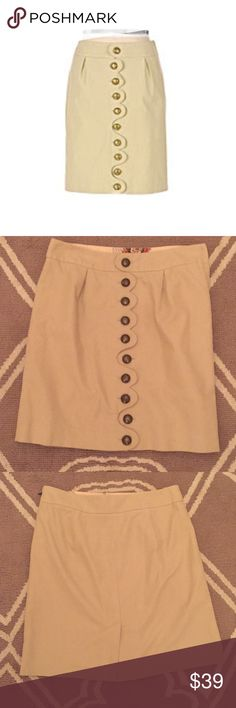 "Anthropologie Top Brass Skirt Taikonhu Sz 6 EUC! 🔹Taikonhu from Anthropologie   🔹""Top Brass Skirt""  🔹Size 8, but better for a size 6  🔹Brass buttoned front lends a militaristic edge to the sophisticated scalloped trim.  🔹Excellent used condition! The brass buttons are naturally tarnished.   🔹Waist: 15"" across the front, lying flat.   🔹Length: 19.25"" from middle top to bottom  ✳️ Bundle to Save 20%!  ❌ No Trades, Holds, PP, Modeling  🎀 100% Authentic!   ⭐️✨ Suggested User • 1400…"