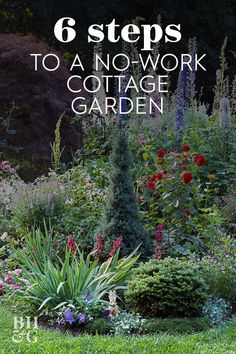 While formal gardens thrive on order and well-defined spaces, cottage gardens bubble in cheerful tangles of flowers that form a kaleidoscope of hue and texture. Cottage gardens are the perfect low-maintenance garden design. maintenance garden ideas tips Garden Yard Ideas, Diy Garden, Garden Cottage, Shade Garden, Dream Garden, Lawn And Garden, Garden Steps, Country Garden Ideas, Garden Design Ideas