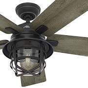 """Hunter Fan Company Hunter Fan 54"""" Weathered Zinc Outdoor Ceiling Fan with a"""
