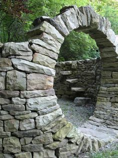 Stone wall 5-6', Round portal, steps built as part of  wall. Chuck Eblacker
