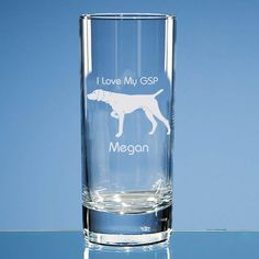 German Shorthaired Pointer Dog Lover Personalised Engraved Highball Glass -Name and Message of Your Choice  - Birthday Gift, Dog Lover Gift