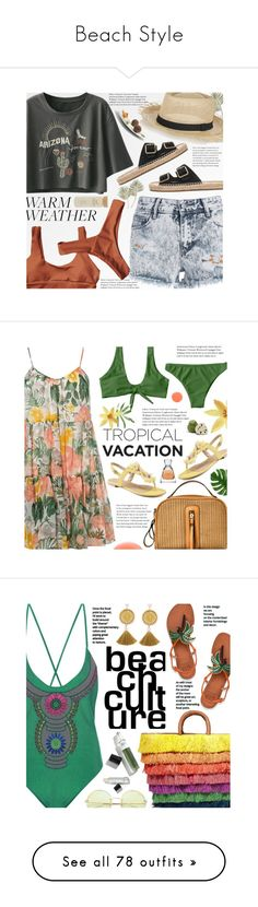 """""""Beach Style"""" by beebeely-look ❤ liked on Polyvore featuring Soludos, Sensi Studio, Forever 21, beachday, denimshorts, cutoffs, heatwave, zaful, Dorothy Perkins and Vera Wang"""