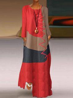 Womens Long Sleeve O Neck Splice Casual Long Maxi Dress Long Sleeve Maxi, Maxi Dress With Sleeves, Short Sleeve Dresses, Sleeveless Dresses, Types Of Sleeves, Vintage Dresses, Women's Fashion, Latest Fashion, Fashion Trends