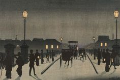 Kobayashi Kiyochika, Japanese (1847-1915), Night at Nihonbashi (Nihonbashi yoru). Meiji era, 1881 (Meiji 14). Horizontal ōban woodblock print , ink and color on paper.