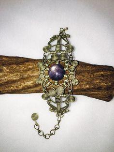 Star Sapphire Wire Wrapped Bracelet by JediJewelry123 on Etsy