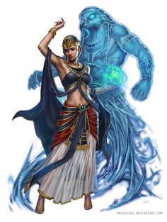 Sorcerer summoning a spirit - Shani Bennu by macarious on DeviantArt