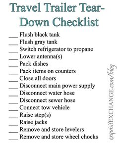 Jeudi - la veille du week-end - transformation - . - New Ideas Think Camping Isn't For You? Think Again RV Tear-Down Checklist Camping Hacks, Travel Trailer Camping, Camping Supplies, Go Camping, Camping Ideas, Camping Packing, Luxury Camping, Rv Travel, Outdoor Camping