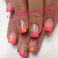 – Apocalypse Now And Then Colorful Nail Designs, Nail Designs Spring, Toe Nail Designs, Fancy Nails, Cute Nails, Pretty Nails, Toe Nail Color, Nail Colors, Clear Glitter Nails