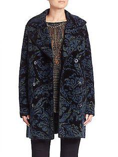Fuzzi Paisley Merino Wool Blend Trench Coat