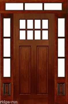 Beautiful Wood Entry Doors with Sidelights and Transom