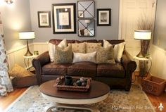New living room brown sofa leather chesterfield Ideas Brown Couch Living Room, Living Room Paint, New Living Room, Living Room Interior, Living Room Decor, Small Living, Modern Living, Living Colors, Leather Living Room Furniture