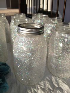 Mason Jar Wedding Centerpieces | Glitter mason jars - wedding centerpieces | One day