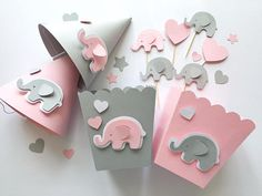 Pink Gray Elephant Baby Shower Party Kit 1 st Girl Birthday