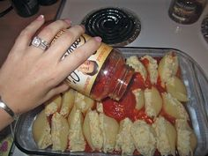Easy 4-Cheese Stuffed Shells recipe.  (Easy for college girls, moms, and blondes!)