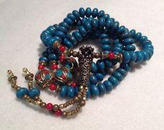 SALE! Tibetan Artisan Buddhist Mala 108 Prayer Beads Copper Turquoise Coral