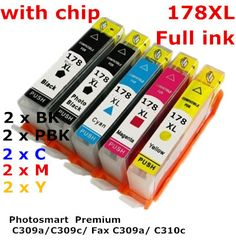 10 ink for hp 178  hp178  compatible ink cartridge For HP Photosmart  Premium C309a C309c Fax C309a C310c printers full ink