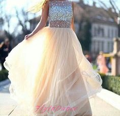 Champagne Prom Dress Simple A Line With Silver Beaded Tulle Long Prom Dresses Modest Evening Gowns For Senior Teens