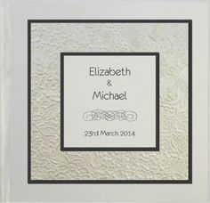 Layered Embossed Bouquet in Ivory Square Hardcover Invitation in Black  - DreamDay Invitations