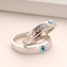 New Romantic Forever Letter Cubic Zirconia 925 Sterling Silver Plated White Gold Lover's Ring