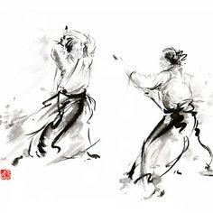 Aikido enso circle martial arts sumi-e original ink painting artwork