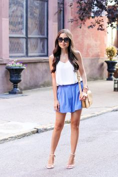 blue silk shorts