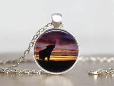 Silhouette Wolf Howling Jewelry Glass Tile Pendant Handmade Silver Round  #Handmade #Pendant