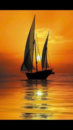 Wallpaper of boat & yacht sailing at ocean and sea Image Nature, Boat Art, Ocean Sunset, Hawaiian Sunset, Beautiful Sunset, Nature Pictures, Belle Photo, Beautiful Landscapes, Landscape Paintings