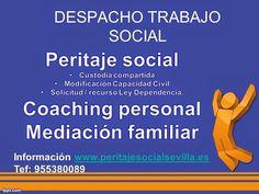 Despacho Trabajo Social * Peritaje Social --Custodia compartida --Modificación Capacidad Civil --Solicitud/Recurso Ley Dependencia  * Coaching personal  * Mediación familiar ________________________________________________________ TRABAJO SOCIAL Y MEDIACIÓN - PERITAJES SOCIALES FACEBOOK: https://www.facebook.com/peritajesocialsevilla C/ Océano Índico, 25, Mairena del Aljarafe, Sevilla Tfno. 610 810 372 WEB: http://www.peritajesocialsevilla.es info@peritajesocialsevilla.es