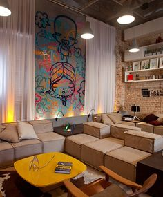 I think if I ever live in a loft or studio that I would love to do this. Interior Design Inspiration, Home Interior Design, Interior Decorating, Home Living Room, Living Room Decor, Living Spaces, Graffiti Room, Sala Grande, Sweet Home