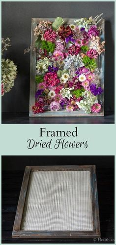 Here's an easy tutorial showing you how to make a beautiful wall hanging of framed dried flowers using a simple canvas frame. #recycle #repurpose #cottagegarden #farmhouse #art #craft