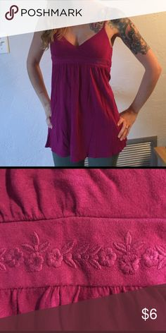 Aerie magenta tank with empire waist Cute Aerie tank with embroidered details. Cute braided spaghetti straps. Forgiving waistline 😝 Bundle and save 20%! aerie Tops Tank Tops