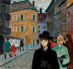 Street Scene with Young Girl by Bela Czene (1911-1999), Hungrian (askart)