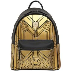 MCM Small Bionic Coated Nylon Backpack ($1,210) ❤ liked on Polyvore featuring bags, backpacks, mcm, gold, rucksack bag, backpacks bags, mcm backpack and black nylon bag