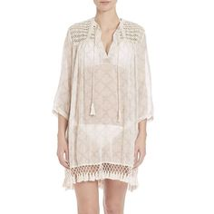 Roberta Roller Rabbit Crochet-Detail Serafina Cotton Tunic Coverup ($155) ❤ liked on Polyvore featuring tops, tunics, apparel & accessories, sand, pink top, pink pullover, crochet tunic, fringe top and cotton pullover