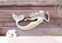 """16"""" Mermaid Wall Sculpture Decoration Nautical 3D Plaque Coastal Home Decor Art"""