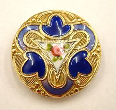 One Antique Large French Enamel Button, Cobalt Blue/Roses, Fabulous Brass Border