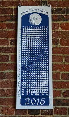 2015 Lunar Phase Calendar in Midnight Blue by OriginalLunarPhase