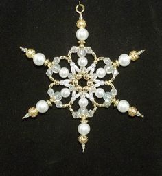 Snowflake Ornament - White Pearl Gold and Clear AB - Beaded Ornaments - Snowflake - Ornament