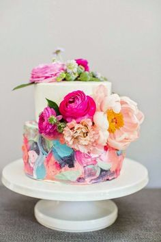 Abstract Painted Buttercream cake by Cakewalk Bake Shop
